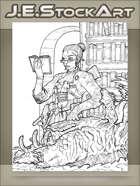 JEStockArt - Steampunk - Librarian Monster Hunter Inspecting Cadaver - LWB