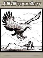 JEStockArt - Fantasy - Giant Bird Chasing Knight On Horse - LWB
