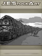 JEStockArt - Western - Locomotive Train And Cowboy On Horse Showdown At Sunset - GWB