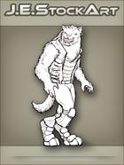 JEStockArt - SciFi - Vargr Wolf With Earring In Scout Jacket - LNB