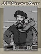 JEStockArt - Steampunk - Bearded Captain Aboard Clockwork Vessel - GWB