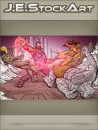 JEStockArt - Super - Villain Punches Heroes in Battle Versus Hero Group - CWB