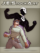 JEStockArt - Supers - Pulp Avatar Hero With Skull Rings - CNB