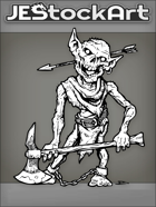 JEStockArt - Fantasy - Rotting Goblin Zombie With Axe And Arrow Thru Head - INB