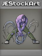 JEStockArt - Supers - Tentacled Superhero with Purple Skin - CNB