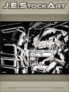 JEStockArt - SciFi - Space Merc With Robot CoPilot Approaches Station - IWB