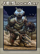 JEStockArt - Fantasy - Deep Sea Diver Golem With Trident Arm - CWB