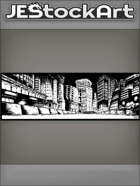 JEStockArt - SciFi - Low View Of Night City Street With Road Barriers On Side - IWB