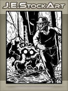 JEStockArt - Supernatural - Gentleman In Hat Running From Horror In Alley - IWB