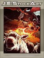 JEStockArt - Fantasy - Hybrid Sheep Dragon Terrorizes Farmstead - CWB
