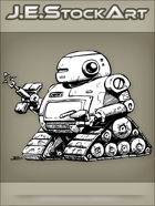 JEStockArt - SciFi - Mech Droid With Internal Weapon And Treads - INB