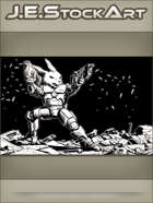 JEStockArt - SciFi - Combat Space Rabbit Firing Dual Weapons - IWB