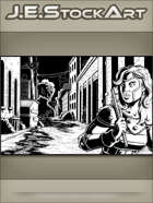 JEStockArt - Supers - Heroine Trailed By Ninjas In Alley - IWB