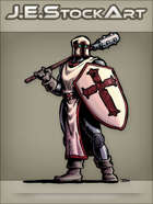 JEStockArt - Fantasy - Classic Cleric With Cross Helm Shield And Long Mace - CNB