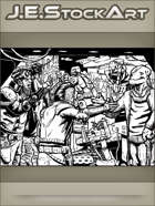 JEStockArt - SciFi - Space Pirates Arguing With Merchant In Bazaar - IWB