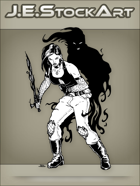 JEStockArt - Supernatural - Shadow Warrior Woman With Dark Blade - INB