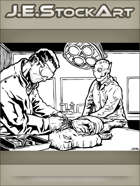 JEStockArt - SciFi -  Biologist Disects Snouted Creature With Robot Assistant - IWB