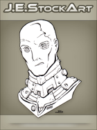 JEStockArt - SciFi - Albino Alien Overlord With Metal Neck - LNB