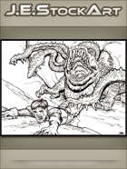 JEStockArt - Fantasy - Hungry Otyugh Dragging Away Weeping Prey - LWB