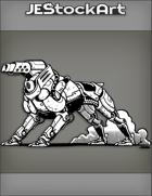 JEStockArt - SciFi - Cybernetic Canine With Gun Head In Smoke - INB
