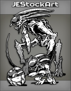 JEStockArt - SciFi - Biped Lobster Alien Morph With Egg And Young - INB
