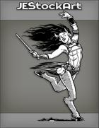 JEStockArt - Fantasy - Dancing Female Satyr With Short Sword And Dark Hair - INB