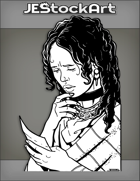 JEStockArt - Fantasy - Worried Victorian Woman With Curly Black Hair Reads Letter - INB