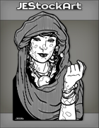 JEStockArt - Fantasy - Arabian Woman With Mottled Skin In Head Cloth And Jewelry - INB