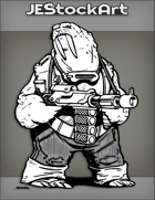 JEStockArt - SciFi - Humanoid Space Walrus With Big Bore Blaster - INB