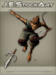 JEStockArt - Fantasy - Mouse Ninja With Sword Throwing Sai - CNB