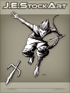 JEStockArt - Fantasy - Mouse Ninja With Sword Throwing Sai - INB