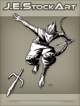 JEStockArt - Fantasy - Mouse Ninja With Sword Throwing Sai - INB
