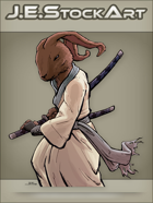 JEStockArt - Fantasy - Samurai Rabbit In Gi Drawing A Sword - CNB