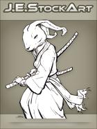 JEStockArt - Fantasy - Samurai Rabbit In Gi Drawing A Sword - INB