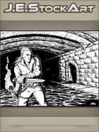 JEStockArt - Fantasy - Young Thief Exploring Dungeon With Torch - IWB