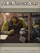 JEStockArt - PostA - Female Mutant Trader In Shop - CWB