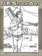 JEStockArt - PostA - Damaged Android Hitchhiking with Keytar - IWB