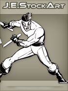 JEStockArt - Supers - Martial Artist With Collapsible Staff - INB