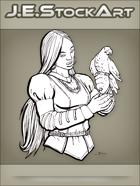JEStockArt - Fantasy - Female Falconer with Dark Skin - INB