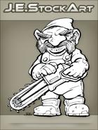 JEStockArt - Fantasy - Clockwork Gnome With Chainsaw - INB