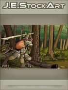 JEStockArt - Fantasy - Tribal Lizardman Chief With Bone Sword In Swamp - CWB