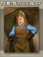 JEStockArt - Modern - Mining Woman with Pickaxe and Helmet - CWB