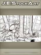 JEStockArt - Fantasy - Tribal Lizardman Chief With Bone Sword In Swamp - IWB