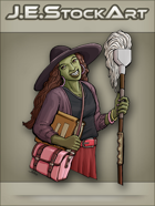 JEStockArt - Modern - Witch with Green Skin and Mop - CNB
