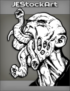 JEStockArt - Fantasy - Alien Parasite With Eye And Tail With Screaming Host - INB
