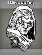JEStockArt - Fantasy - Alien Arabian Woman With Tribal Marks In Ragged Hood - INB
