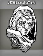 JEStockArt - Fantasy - Alien Arabian Woman With Tribal Marks In Ragged Hood - INB
