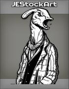 JEStockArt - PostA - Parasaur Man Yelling In Scarf And Layered Coats - INB
