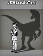 JEStockArt - Supernatural - Pouty Teenage Girl In Ripped Jeans With Shadow Of A Dino - INB