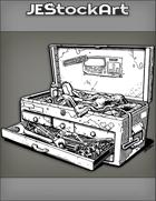 JEStockArt - Modern - Messy Mechanic Toolbox With Dirty Oil Rag - INB